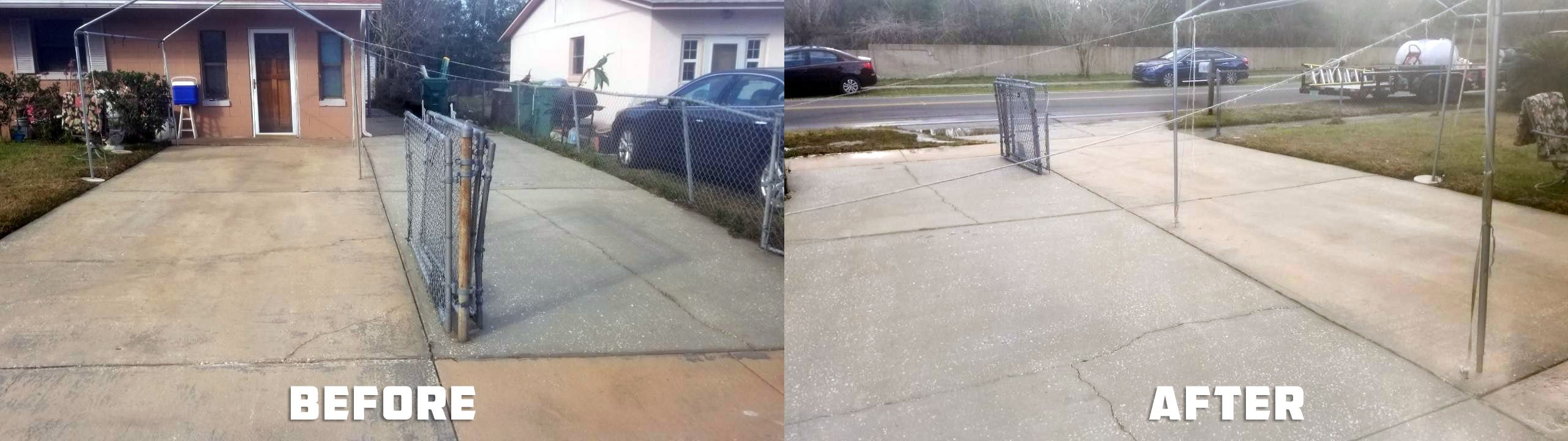 Driveway cleaning service by Reliable Soft Wash